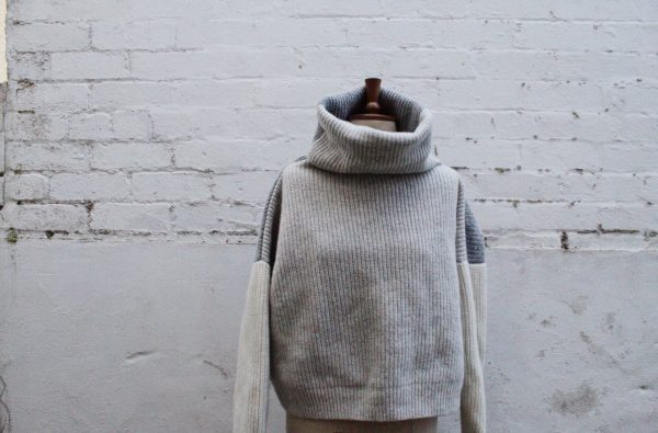 mixed grey lambswool jumper by Amber Hards knitwear
